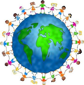 Website children holding hands image