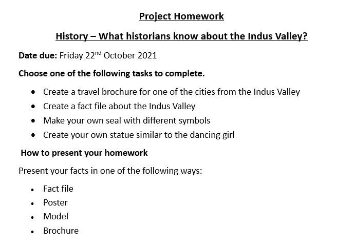 Project homework   indus valley